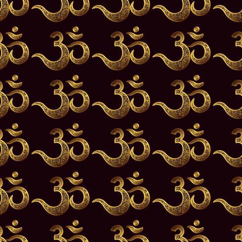 Seamless pattern Om or Aum Indian sacred sound, original mantra