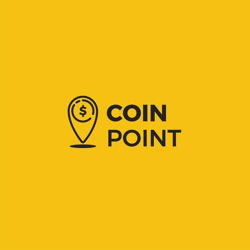 Coin point logo. Location of money logotype. Vector line art illustration