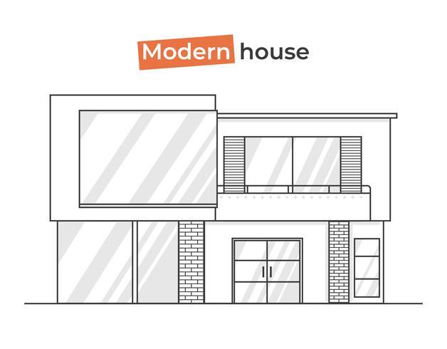 Casas con estilo moderno en los iconos de arte de línea. Concepto de diseño a domicilio con ladrillos de textura y madera y tejas. Vector ilustración plana