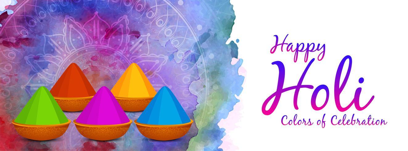 Feliz Holi hermoso diseño de banner decorativo