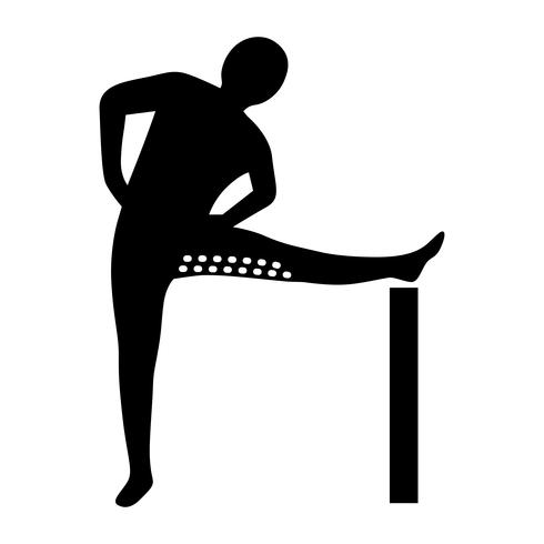 Stretching Exercise Icon om hamstrings en abductors te strekken.