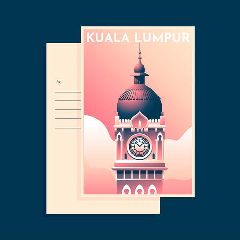 Sultan Abdul Samad Building Kuala Lumpur  Vintage Postcarad Template