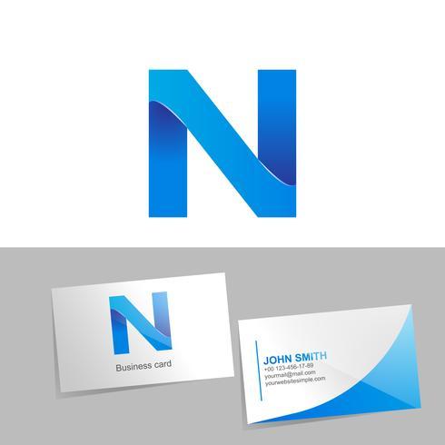 Logo degradado con la letra del logo. Tarjeta de visita de la maqueta en el fondo blanco. El concepto de diseño de elementos tecnológicos. ilustración