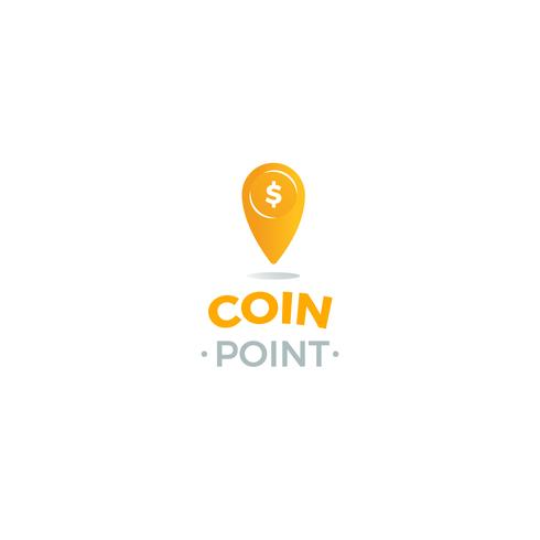 Coin point logo. Location of money logotype. Vector line art illustration