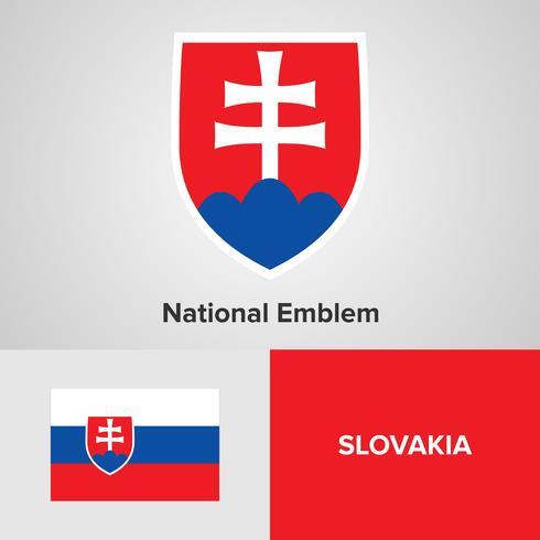 Emblema nacional da Eslováquia, mapa e bandeira