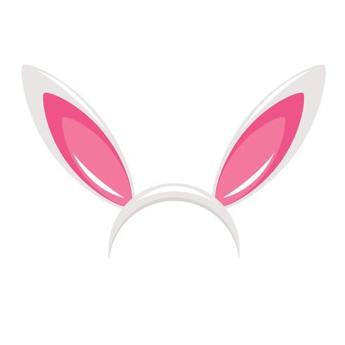 Orelhas do coelho e máscara do carnaval do nariz para uma foto. Festival dos Coelhos. Vetorial, caricatura, ilustração