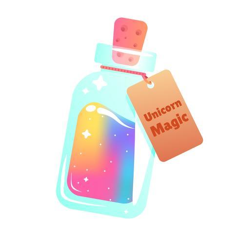 El maná mágico de un unicornio. Líquido arco iris con estrella en la botella. Ilustración vectorial de dibujos animados
