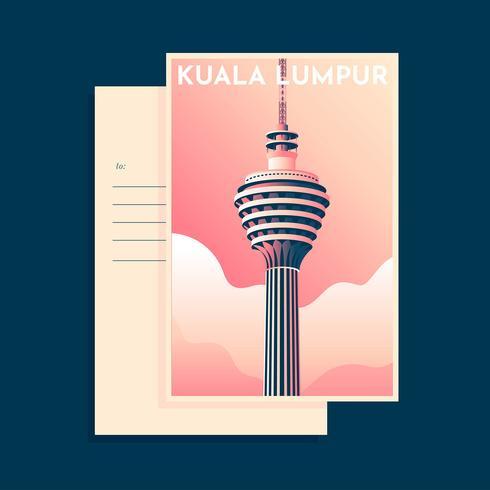 Plantilla Postcarad Vintage Kuala Lumpur Tower