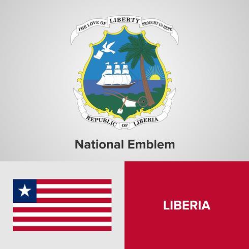 Liberia National Emblem, karta och flagga