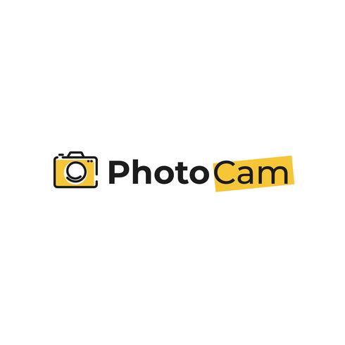 Logo creativo con cámara de fotos. Firma para el fotógrafo. Línea negra con fondo plano moderno logotipo amarillo.