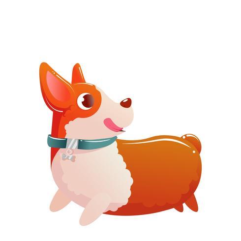 Glad söt hund corgi som körs på vit isolerad bakgrund. Vektor tecknad illustration