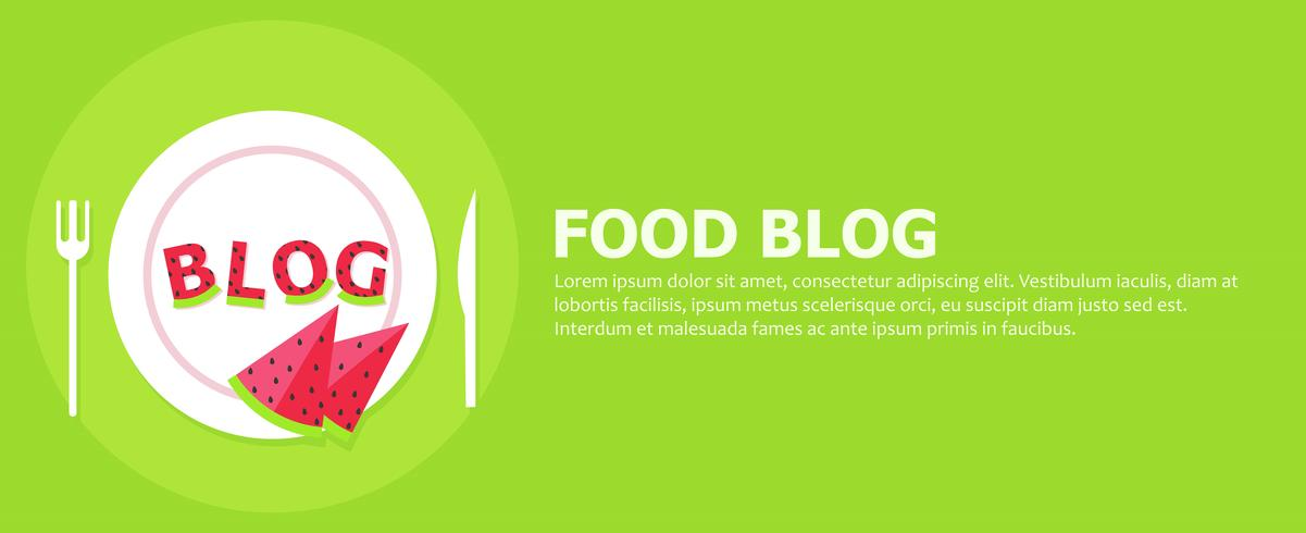 Food blog banner. Plate with letters from watermelon and the word Blog. Vector flat illustration