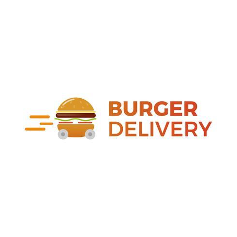 Burger delivery. Fast hamburger car. Logotype for restaurant or cafe . Vector illustration