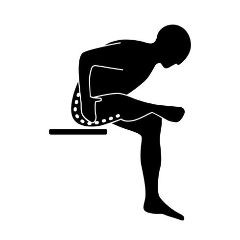 Stretching Exercise Icon to stretch gluteal, hamstrings and abductors seated.  vector