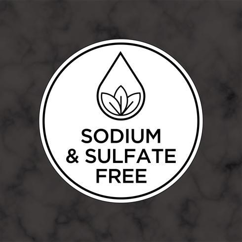 Sodium et sulfate Icône gratuite pour les étiquettes de shampooing, masque, revitalisant et autres produits capillaires.