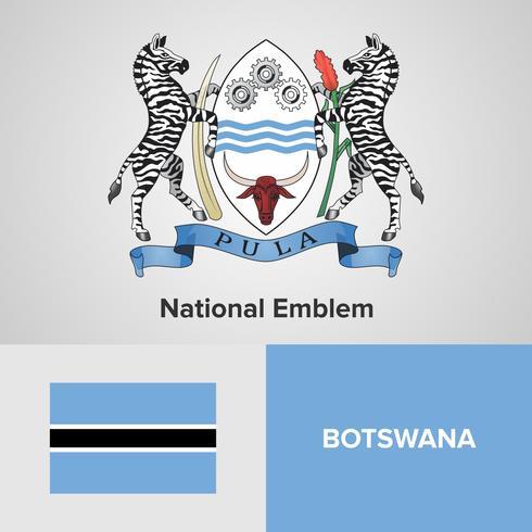 Botswana National Emblem, Karte und Flagge