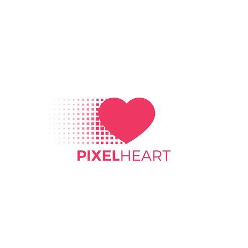 Pixel-Herz-Logo. Flache Vektorillustration