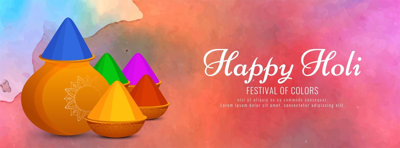 Plantilla de banner colorido abstracto feliz Holi