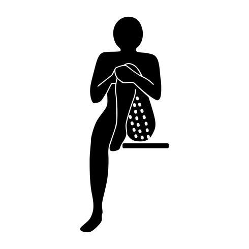 Estirar el icono de ejercicio para estirar bíceps femoris específicos sentados. vector