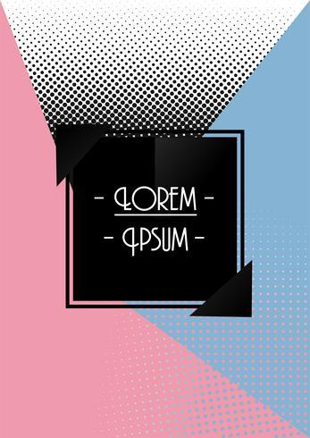 Diseño retro abstracto del vector de carteles y volantes. Tono rosa y azul con semitono.
