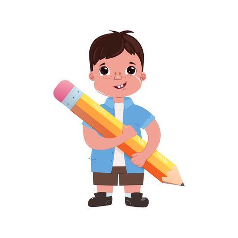 Niño niño colegial con un gran lápiz lindo. Ir al colegio. Estudiemos. Ilustración vectorial de dibujos animados