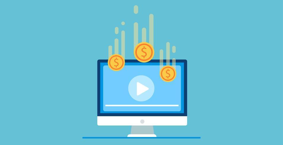 Faixa de pagamento por visualização. Reproduza o vídeo no computador depois que você conseguir dinheiro. Ilustração vetorial plana vetor
