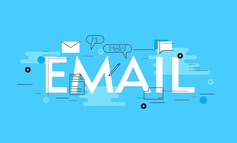 Ligne d'infogradic d'email. Illustration de plat Vector