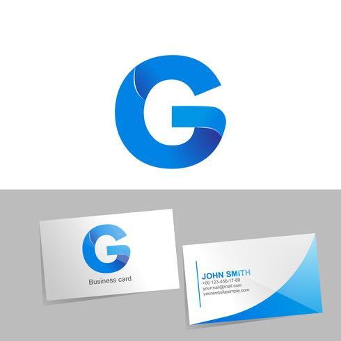Logo sfumato con la lettera G del logo. Biglietto da visita modello su sfondo bianco. Il concetto di design di elementi tecnologici. illustrazione