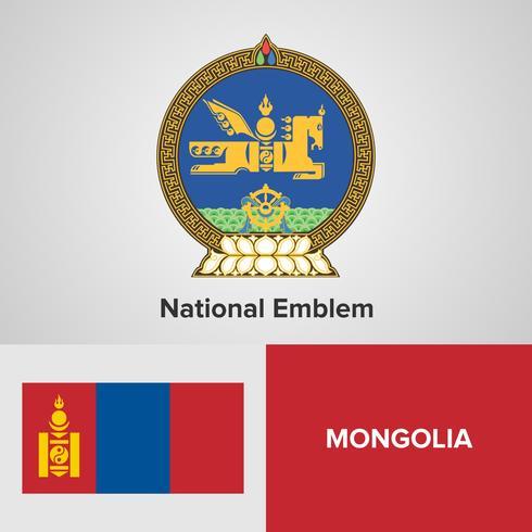 Mongolia emblema nacional, mapa y bandera