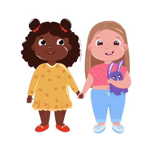 Zwei kleine süße Freundinnen. Internationale Freundschaft Vector Karikaturillustration für Grußkarte und Plakat und Druck und Website