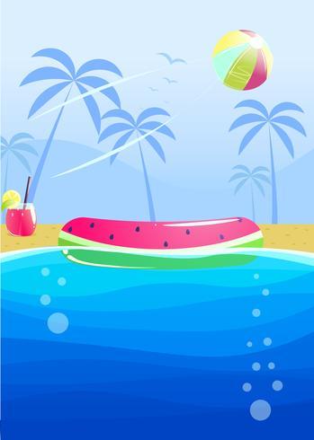 Hola diseño de banner fiesta de verano. Piscina en el parque acuático. Ilustración vectorial de dibujos animados