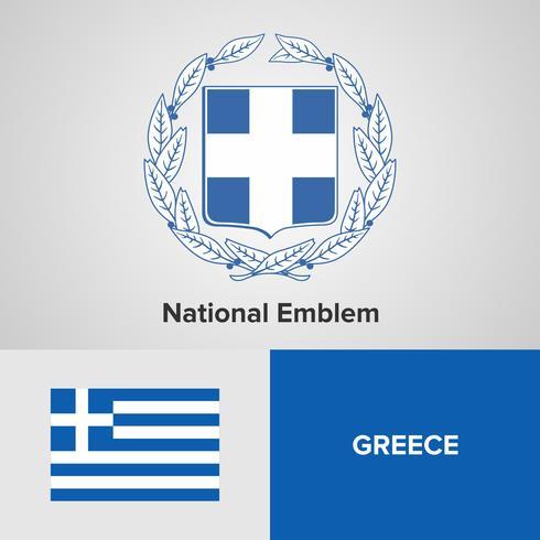 Grecia emblema nacional, mapa y bandera