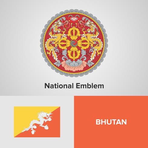 Bhutan National Emblem, mapa y bandera