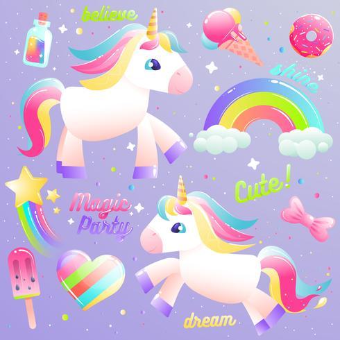 Unicornio lindo conjunto. Colorido arco iris, helado, líquido mágico en una botella con estrella. Vector de dibujos animados establece ilustración