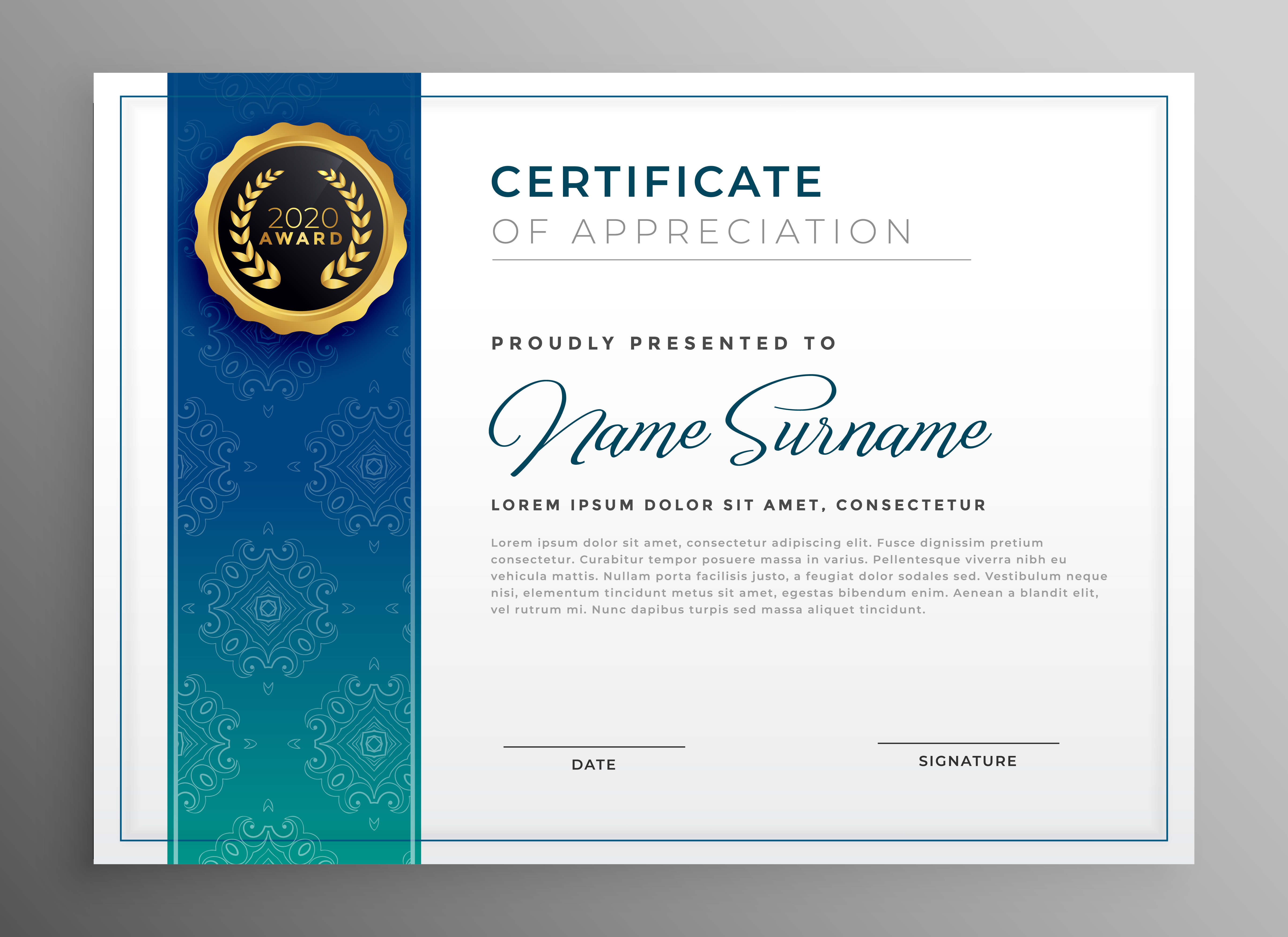 elegant blue certificate of appreciation template ...