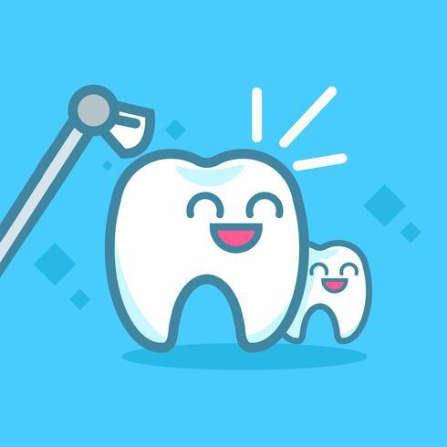 Banners de Odontologia, limpeza dos dentes. Personagens fofinhos de kawaii. Ilustração vetorial plana