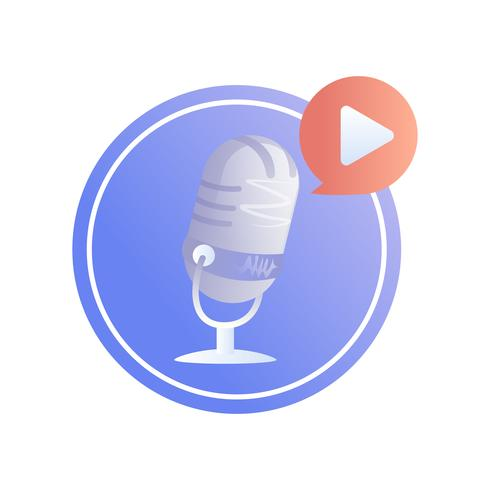 Logo podcast. A microphone with play button. Vector flat illustration