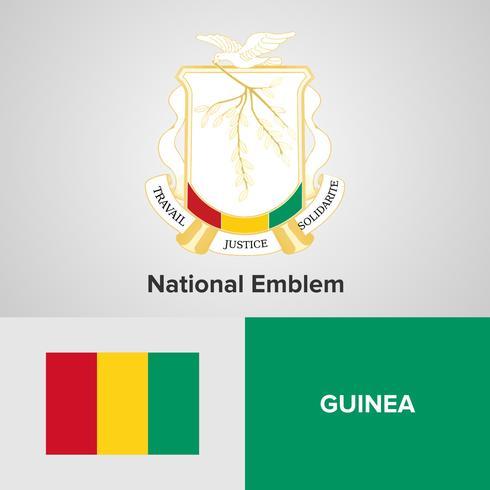 Emblema nazionale della Guinea, mappa e bandiera