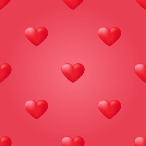 Modèle sans couture coeur rouge. Amour de fond de vecteur
