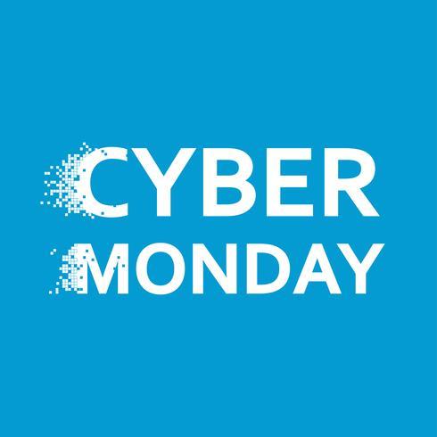 Banner del lunes cibernético. Día de venta en tiendas online. Pixel Flat Illustration
