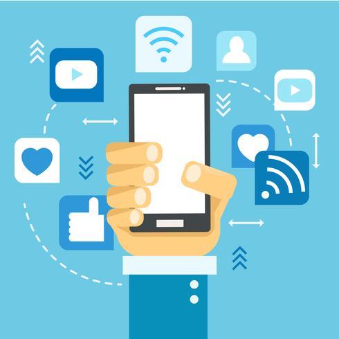 Bannière de médias sociaux. Téléphone avec des icônes. illustration plate