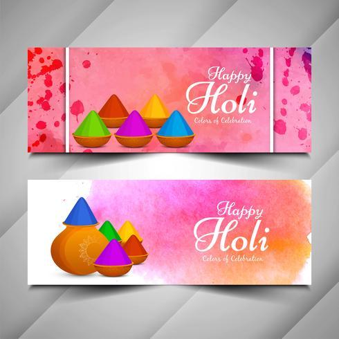 Jeu de bannières colorées festival abstrait Holi