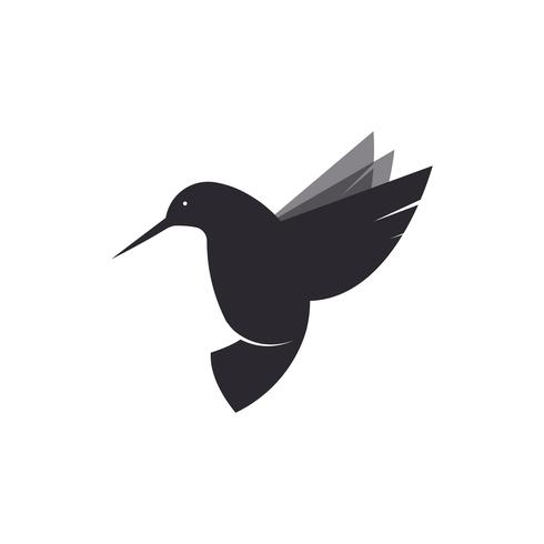Hummingbird logo. Illustration of a bird species violetears Colibri. Flat Vector drawing of an animal fly.