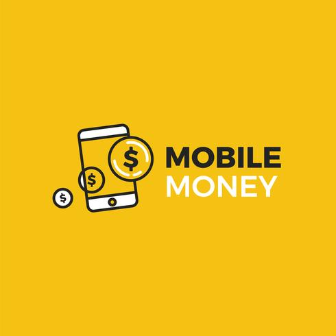 Mobile money payment logo. A phone with dollar gold coins.