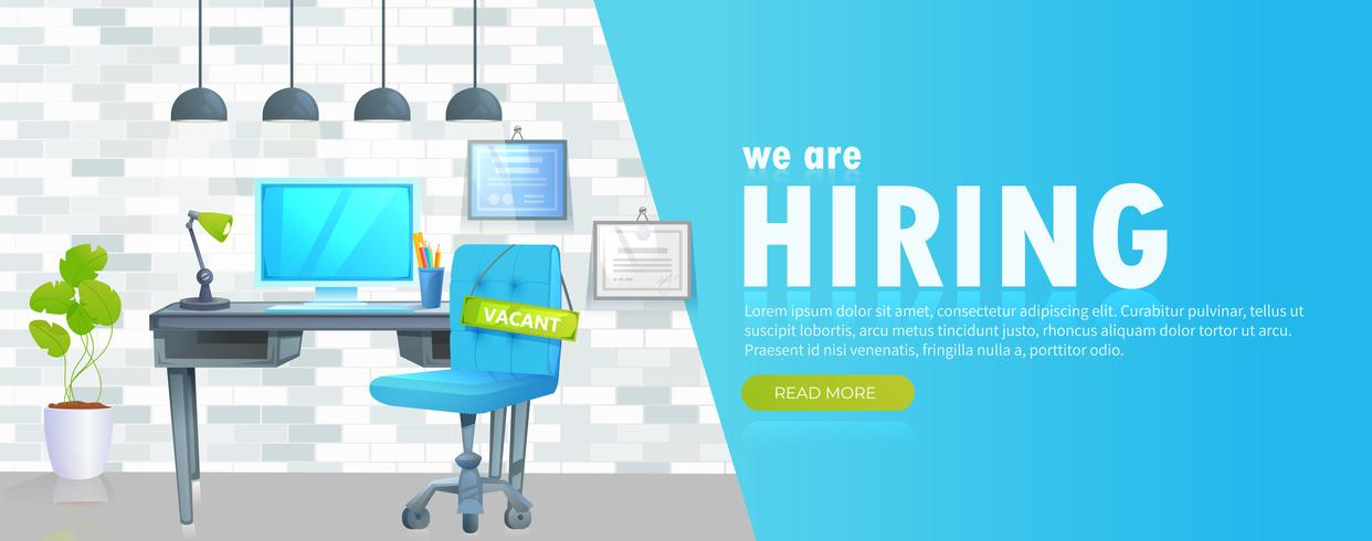 We are hiring banner with office workspace and sign vacant and inscription. Business recruiting concept. Vector cartoon illustration.