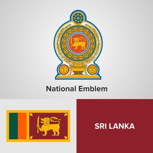 Sri Lanka emblema nacional, mapa y bandera
