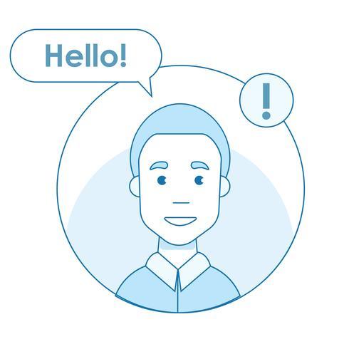 Icône de l'utilisateur des réseaux sociaux qui a envoyé un message bonjour. Notification sur Internet. Utilisateur de ligne plate de vecteur