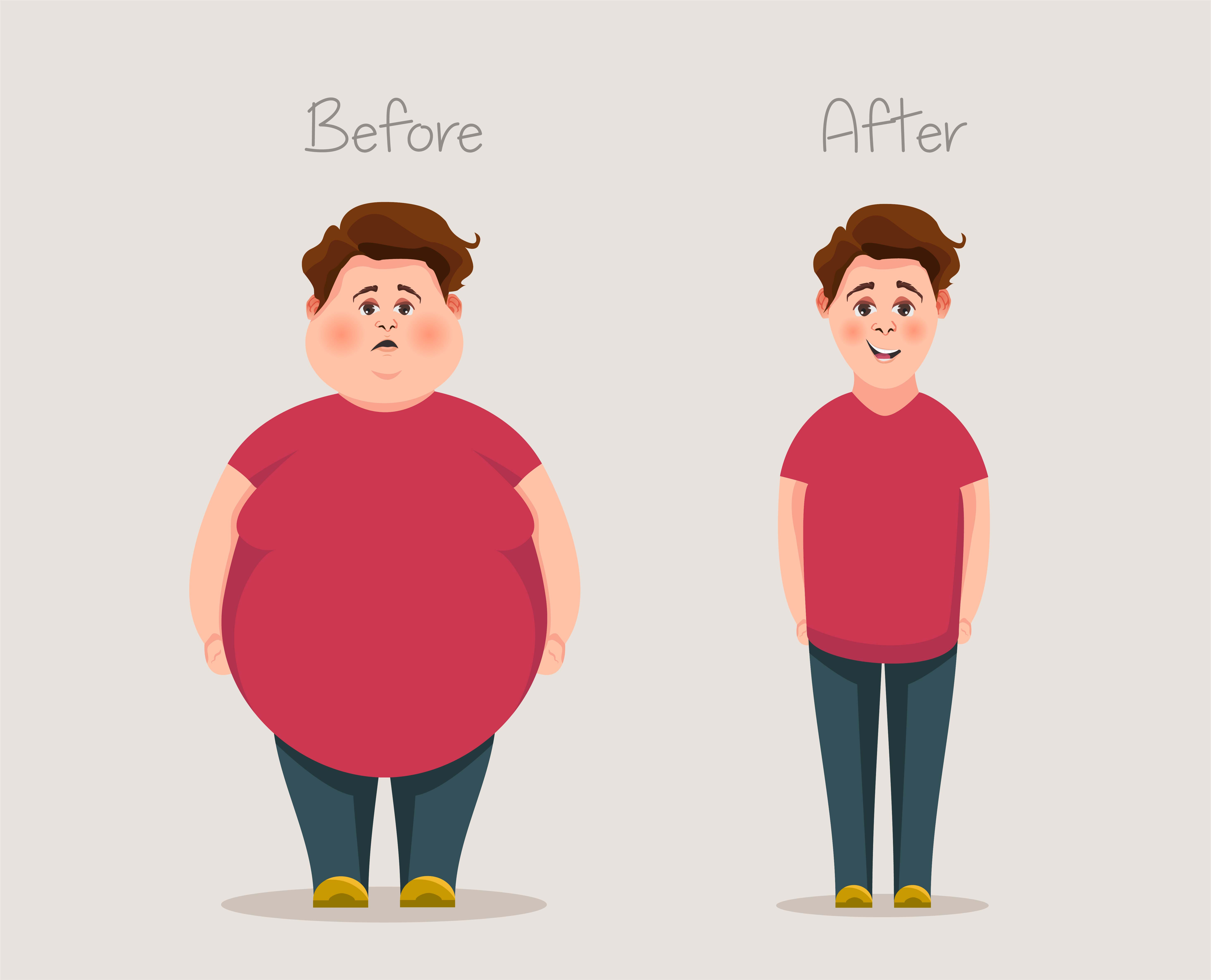 Fat and skinny guys. Concept of weight. Before and after