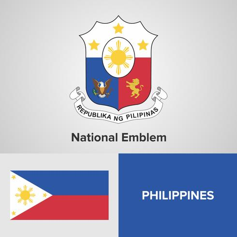 Filipinas emblema nacional, mapa y bandera