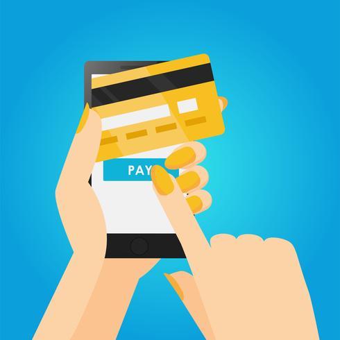 Telefone nas mãos com um cartão de crédito. Pagamento on-line do celular. Banner plana de vetor